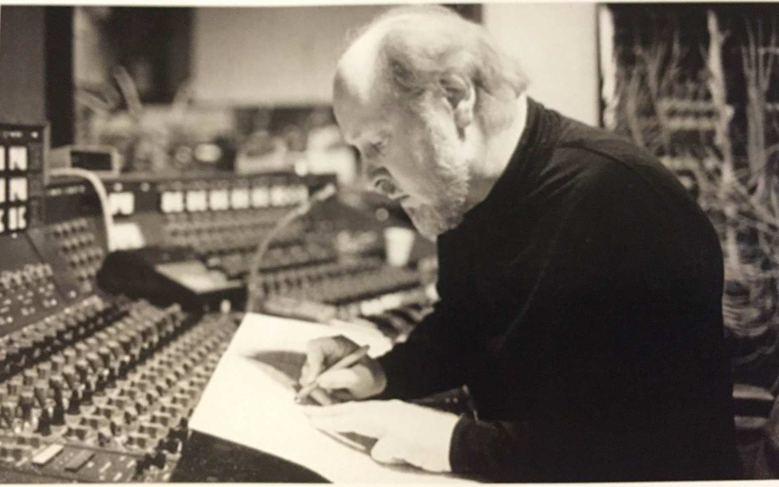 John Williams in Studio One Control Room making notes on the EMI TG12345 mixing console
