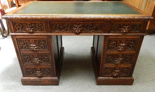 Carved Oak Green Man Desk Antiques Atlas