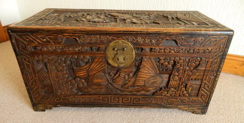 Chinese Carved Camphor Wood Trunk Antiques Atlas