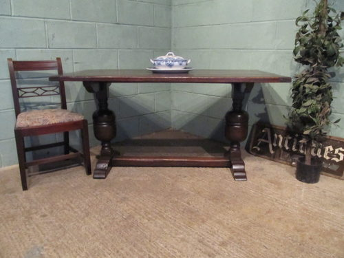 Dining Table Antique Oak Refectory Dining Table