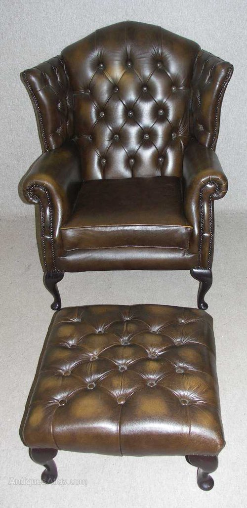 antiques atlas chesterfield queen anne armchair stool. Black Bedroom Furniture Sets. Home Design Ideas
