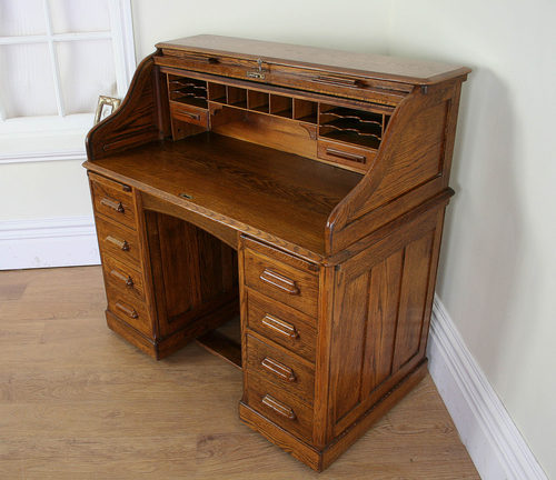 Oak 4ft Lebus Roll Top Pedestal Desk C 1901 1920