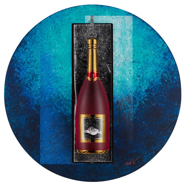 Sparkling Red Bottle Wall Sculpture