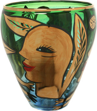 Vase Birdy Green Gold