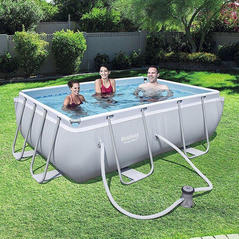 Прямоугольный каркасный бассейн Bestway 56629 Power Steel Frame Pool (282х196х84 см)