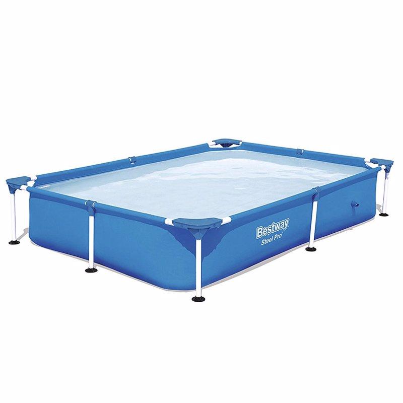 Прямоугольный каркасный бассейн Bestway 56401 Steel Pro Splash Frame Pool (221х150х43 см)