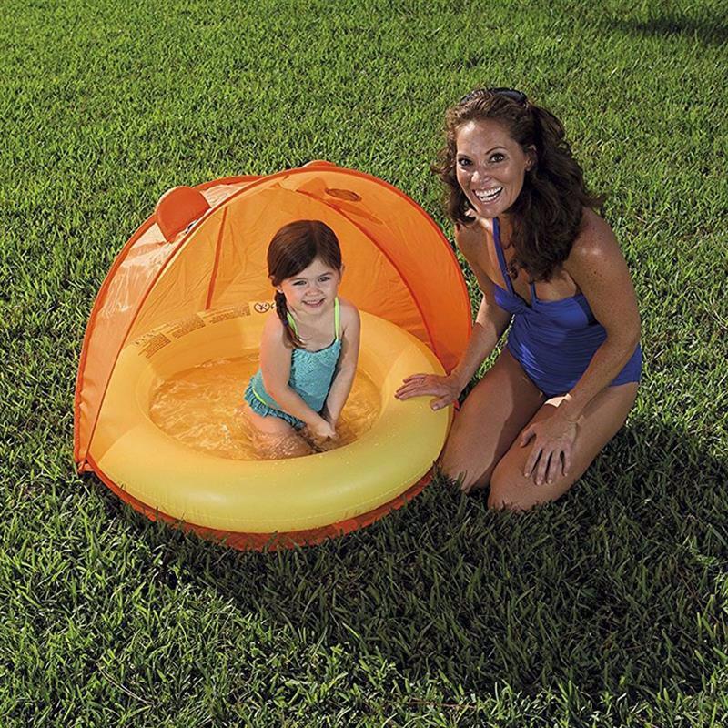 Детский надувной бассейн Bestway 51110 (Оранжевый) Play Pool With Twist' N Fold Tent (97x97x74 см)