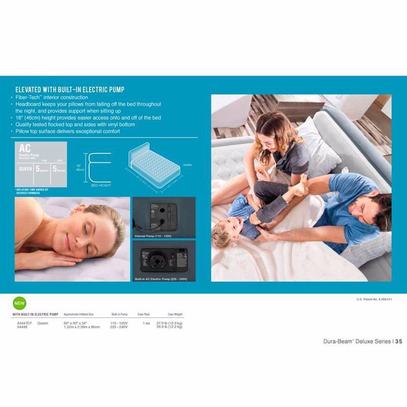 Двуспальная надувная кровать Intex 64448 (152 x 236 x 86 см) Ultra Plush Headboard + Встроенный электронасос 220В