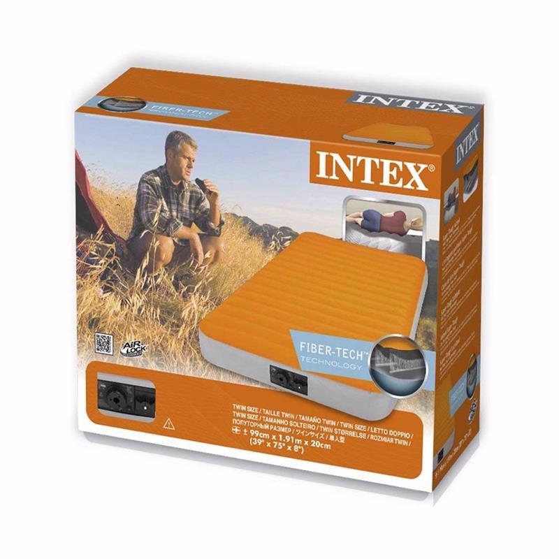 Односпальный надувной матрас Intex 64791 (99 x 191 x 20 см) Super-Tough + Встроенный электронасос на батарейках