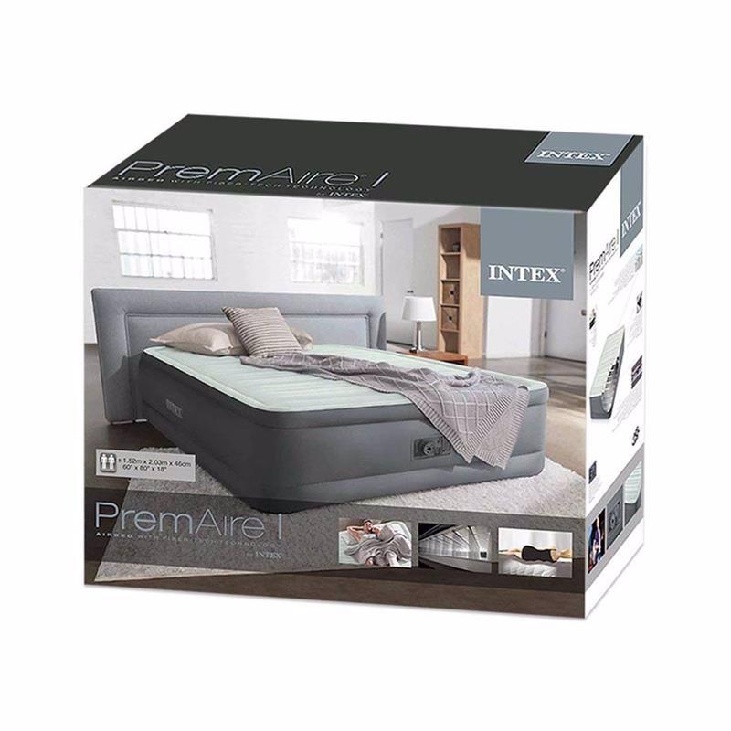 Двуспальная надувная кровать Intex 64906 (152 x 203 x 46 см) PremAire I + Встроенный электронасос 220В