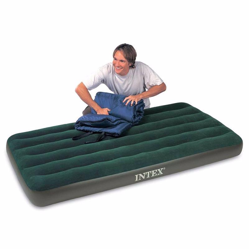 Односпальный надувной матрас Intex 66967 (99 x 191 x 22 см) Prestige Downy + Внешний электронасос на батарейках
