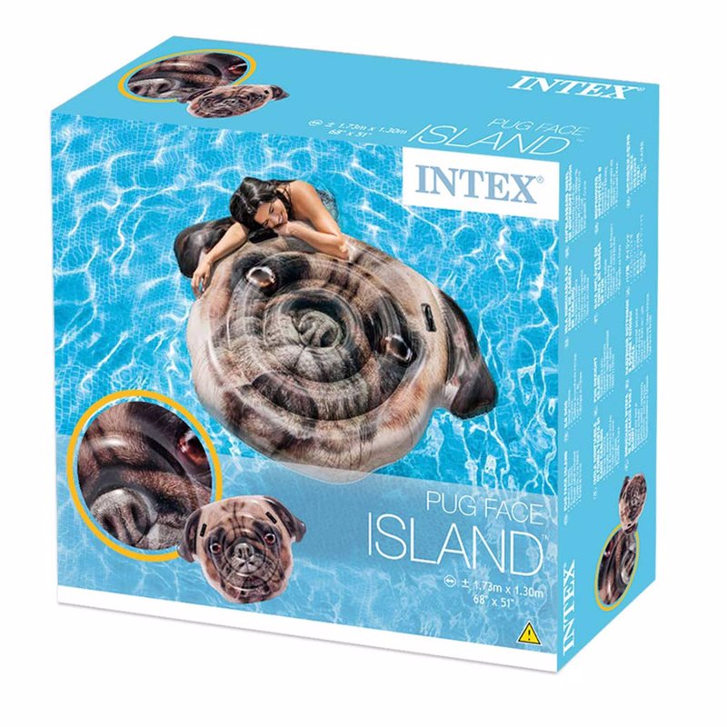 Надувной плотик Intex 58785 Мопс (173 x 130 см) Pug Face Island