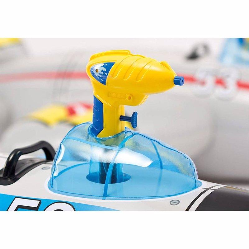 Детский надувной плотик Intex 57537 Истребитель (132 x 130 см) Water Gun Plane Ride-ons (Голубой)