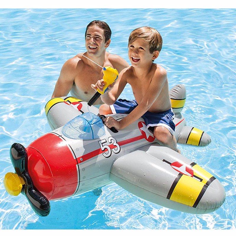 Детский надувной плотик Intex 57537 Истребитель (132 x 130 см) Water Gun Plane Ride-ons (Серый)