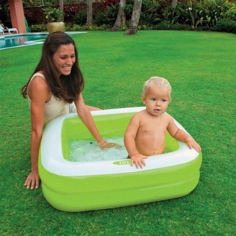 Детский надувной бассейн Intex 57100 (Салатовый) Play Box Pools (85х85х23 см)