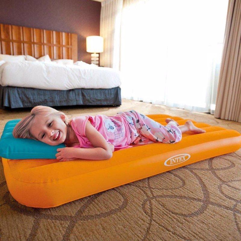 Детский надувной матрас Intex 66801 (Оранжевый) Cozy Kidz Airbed (88x157x18 см) + Надувная подушка