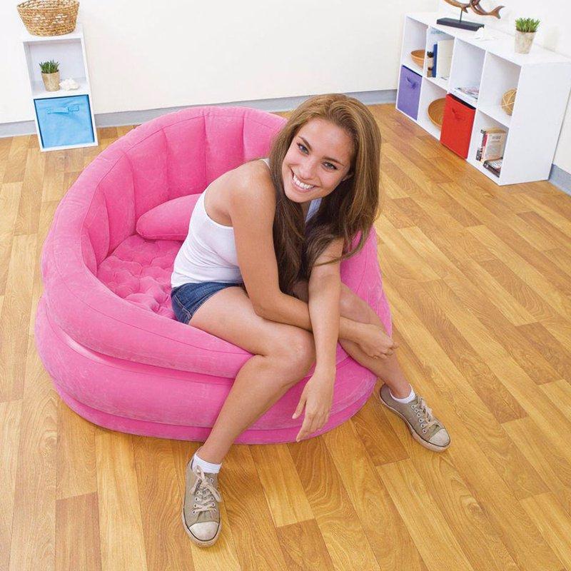 Надувное кресло Intex 68563 (91 x 102 x 65 см) Cafe Chair (Розовый)