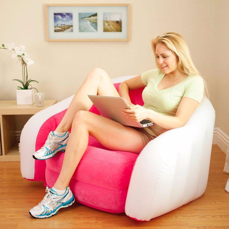 Надувное кресло Intex 68571 (97 x 76 x 69 см) Cafe Club (Розовый)