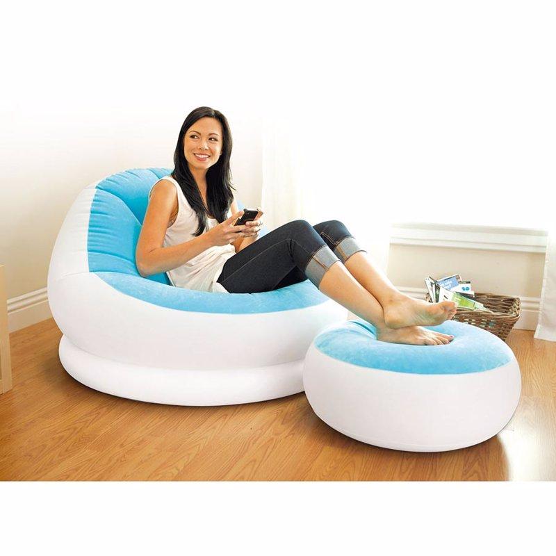 Надувное кресло Intex 68572 (104 x 109 x 71 см) Cafe Chaise (Голубой, с пуфиком)