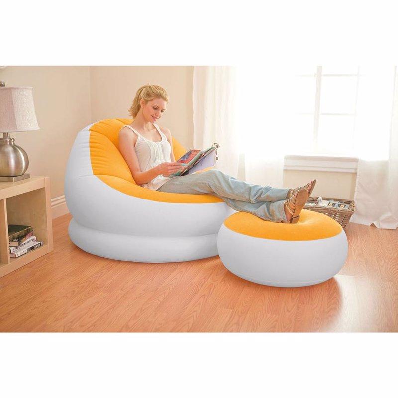 Надувное кресло Intex 68572 (104 x 109 x 71 см) Cafe Chaise (Оранжевый, с пуфиком)