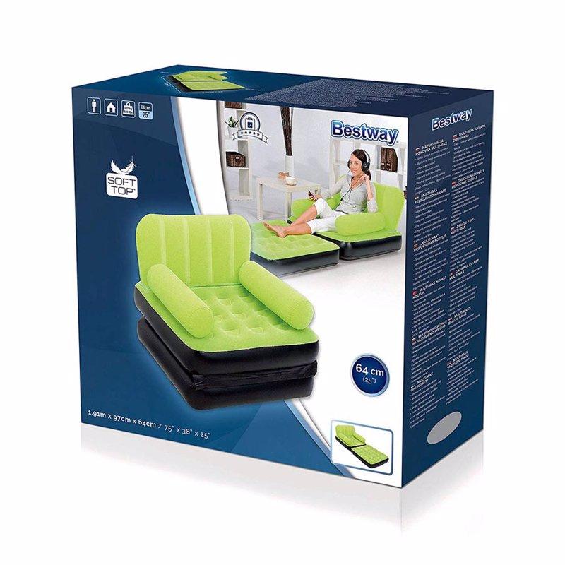 Надувное кресло-трансформер Bestway 67277 (191 x 97 x 64 см) Multi-Max Air Couch (Салатовый)