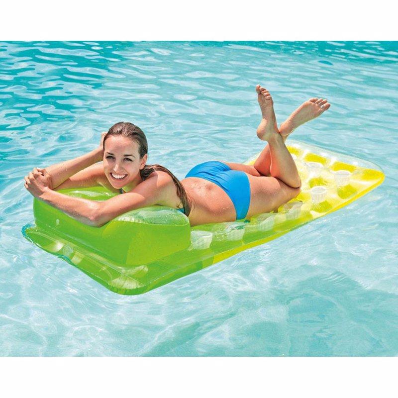 Пляжный надувной матрас для плавания Intex 58890 Салатовый 18-Pocket Fashion Lounges (188х71 см)
