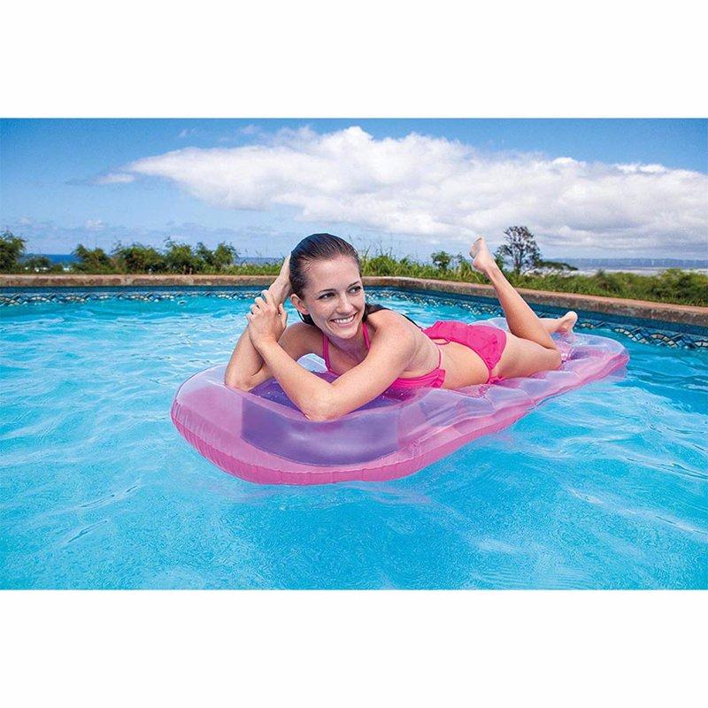 Пляжный надувной матрас для плавания Intex 59895 (Розовый) 18-Pocket Suntanner Lounges (188х71 см)