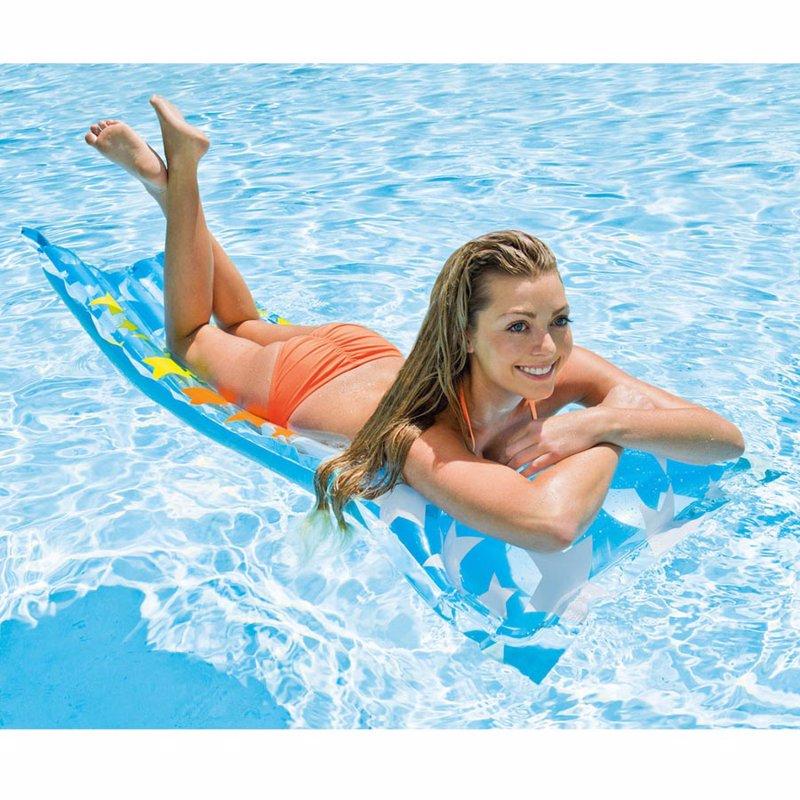 Пляжный надувной матрас для плавания Intex 59711 (Со звездами) Action Print Mats (183х69 см)