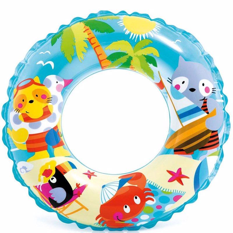 Детский надувной круг Intex 59242 (Голубой) Ocean Reef Transparent Rings (61 см)