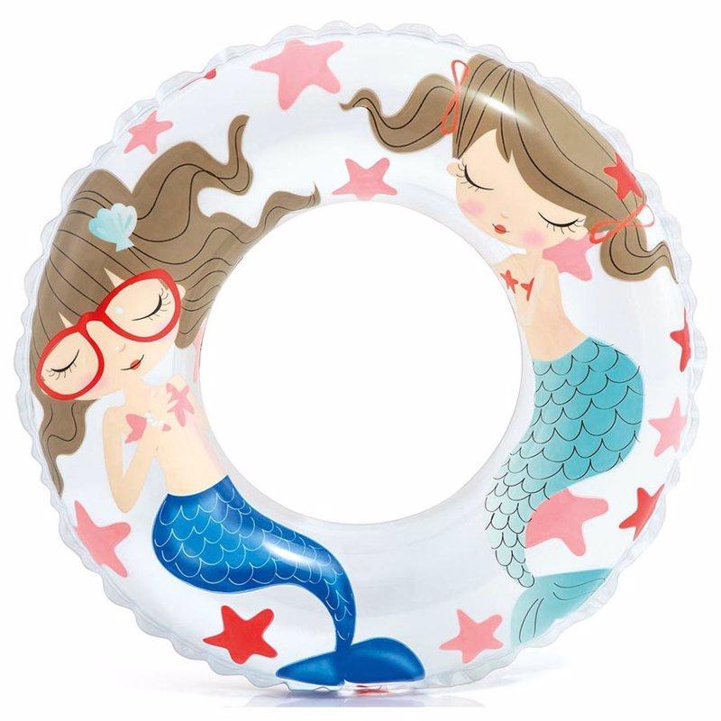 Детский надувной круг Intex 59242 (Белый) Ocean Reef Transparent Rings (61 см)