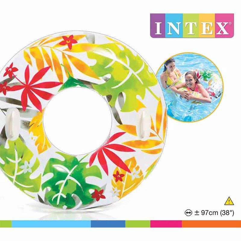 Надувной круг Intex 58263 с ручками (Белый) Transparent Tubes (97 см)