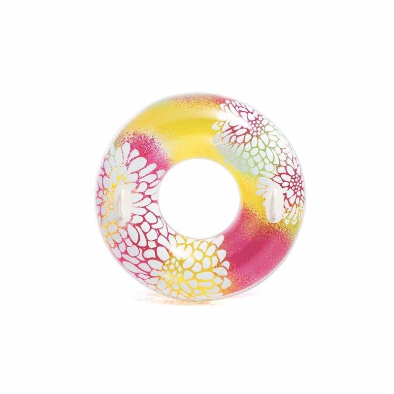 Надувной круг Intex 58263 с ручками (Розово-желтый) Transparent Tubes (97 см)
