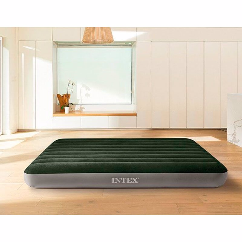 Двуспальный надувной матрас Intex 64779 (152 x 203 x 25 см) Prestige Downy Airbed + Внешний электронасос на батарейках