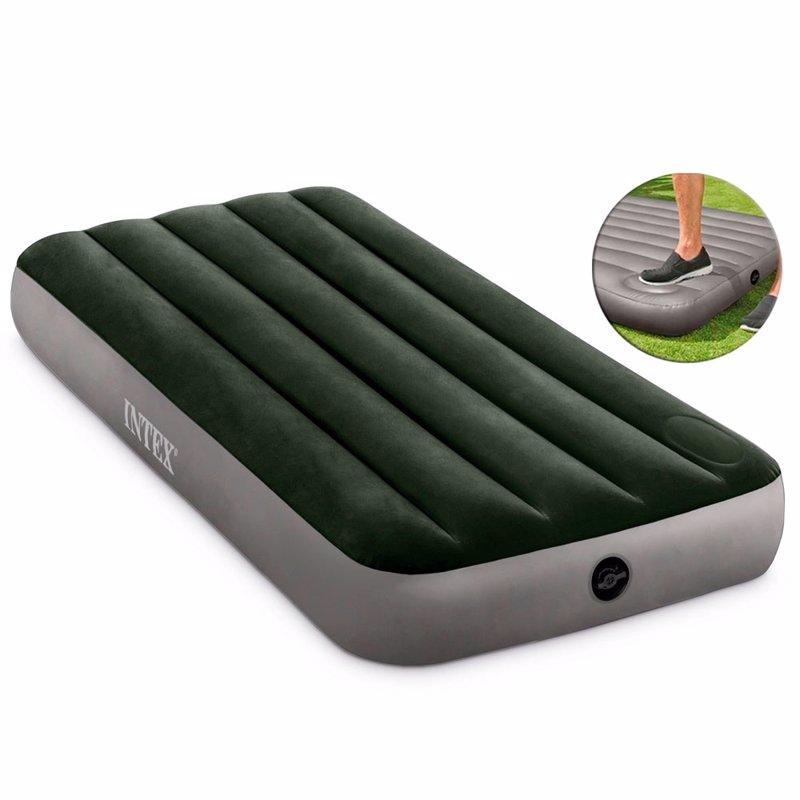 Односпальный надувной матрас Intex 64760 (76 x 191 x 25 см) Downy Airbed + Встроенный ножной насос