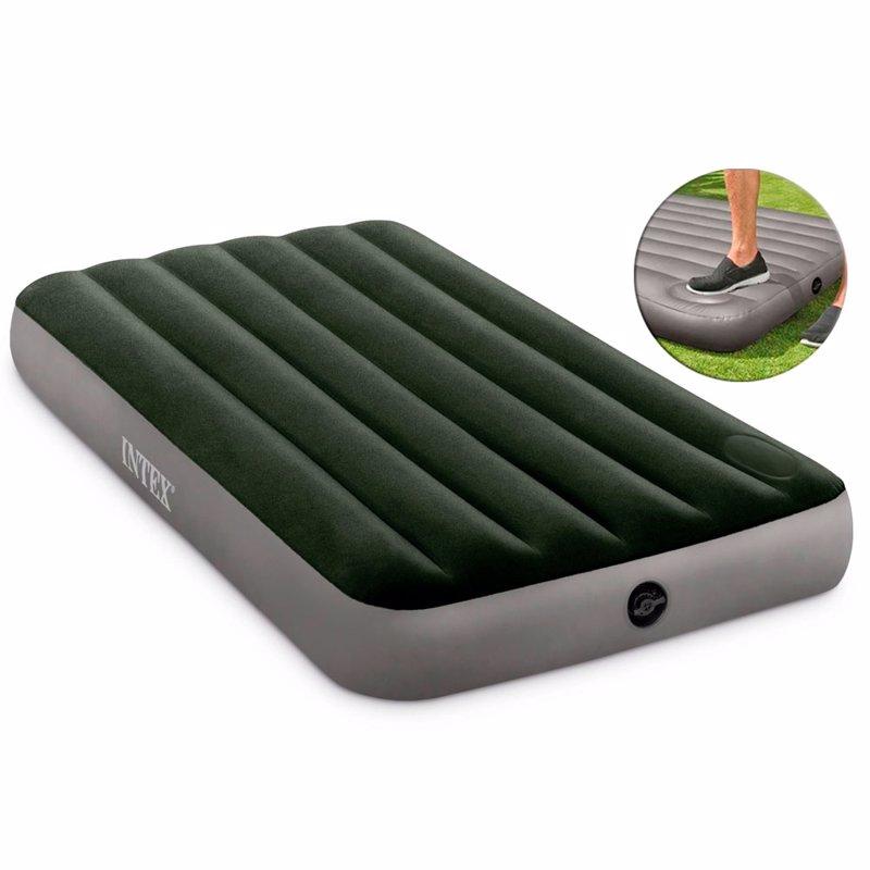 Односпальный надувной матрас Intex 64761 (99 x 191 x 25 см) Downy Airbed + Встроенный ножной насос
