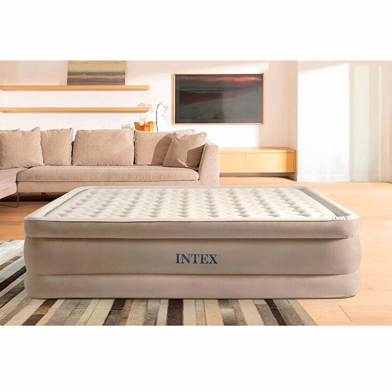 Двуспальная надувная кровать Intex 64428 (152 x 203 x 46 см) Ultra Plush Airbed + Встроенный электронасос 220В