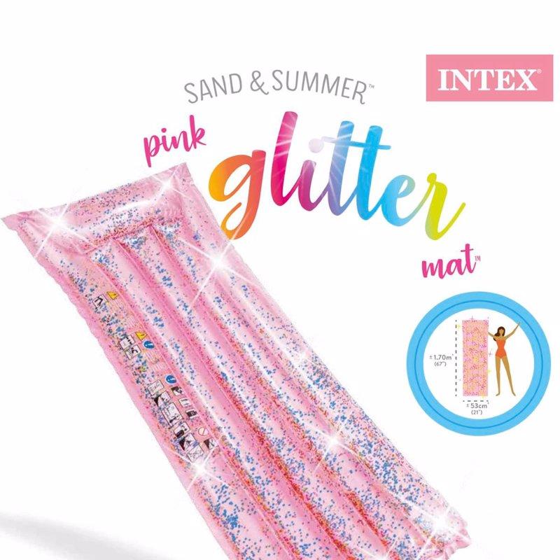 Пляжный надувной матрас для плавания Intex 58720 (170 x 53 x 15 см) Блеск Pink Glitter Mat