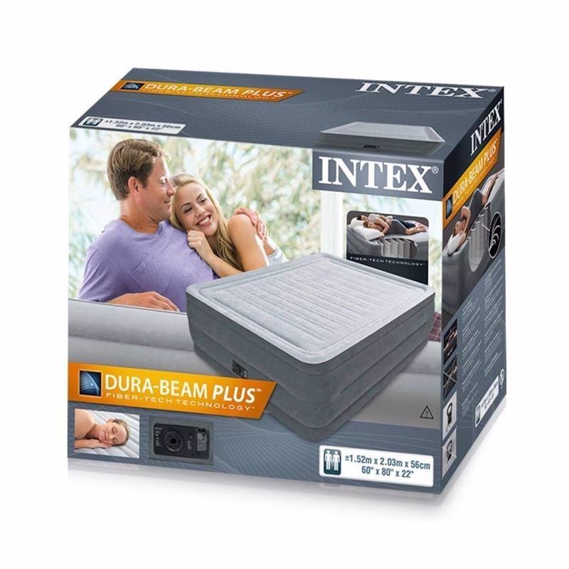 Двуспальная надувная кровать Intex 64418 (152 x 203 x 56 см) Comfort-Plush + Встроенный электронасос 220В