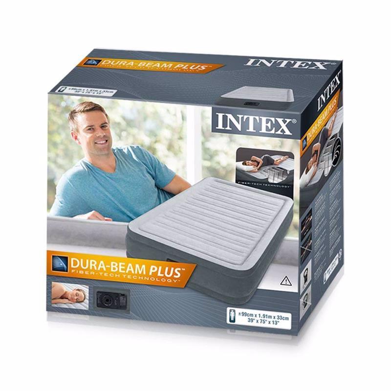 Односпальная надувная кровать Intex 67766 (99 x 191 x 33 см) Comfort-Plush + Встроенный электронасос 220В
