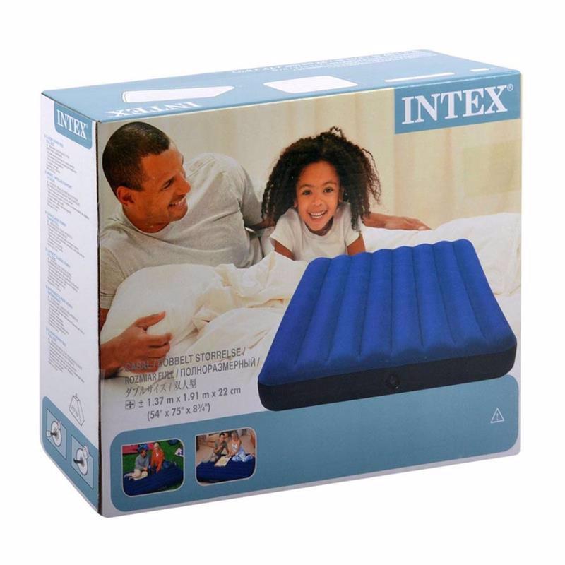 Полутороспальный надувной матрас Intex 68758 Classic Downy Bed (137х191x22 см)