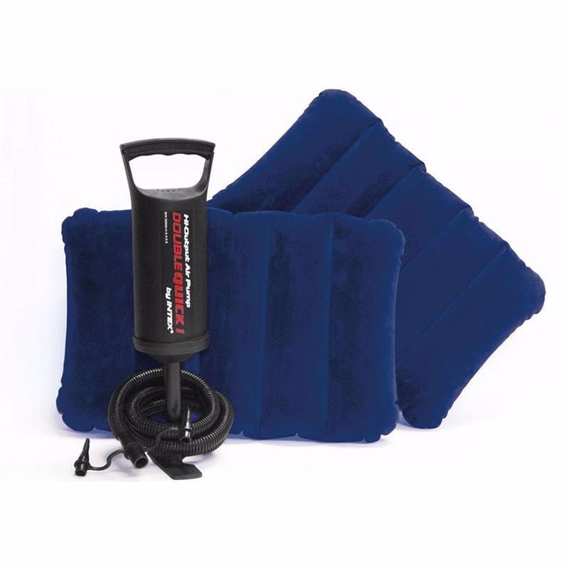 Двуспальный надувной матрас Intex 68765 (152 х 203 x 22 см) Classic Downy + Ручной насос и 2 надувные подушки