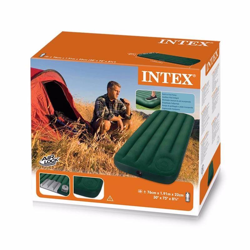 Односпальный надувной матрас Intex 66950 (76 х 191 x 22 см) Downy + Встроенный ножной насос