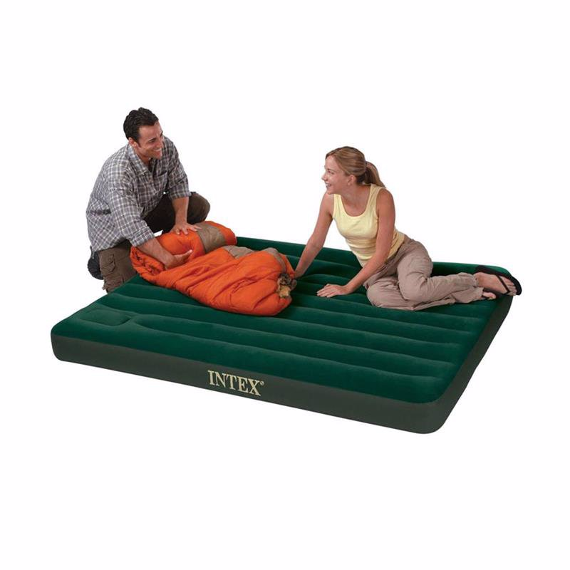 Двуспальный надувной матрас Intex 66929 (152 х 203 x 22 см) Downy + Встроенный ножной насос