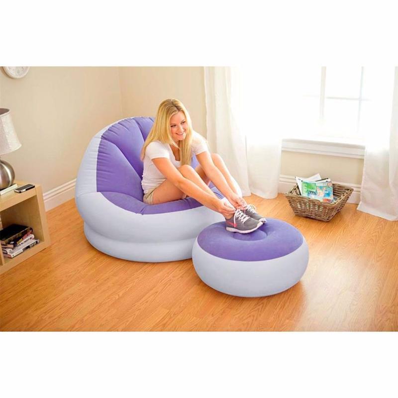 Надувное кресло Intex 68572 (104 x 109 x 71 см) Cafe Chaise (Фиолетовый, с пуфиком)