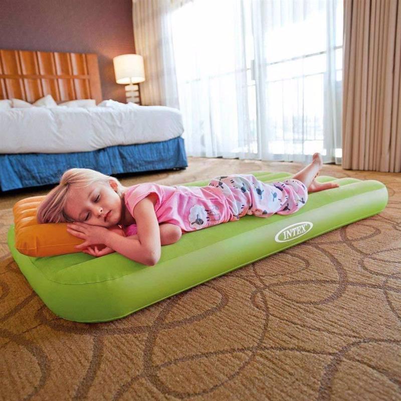 Детский надувной матрас Intex 66801 (88 x 157 x 18 см) Cozy Kidz (Салатовый) + Надувная подушка