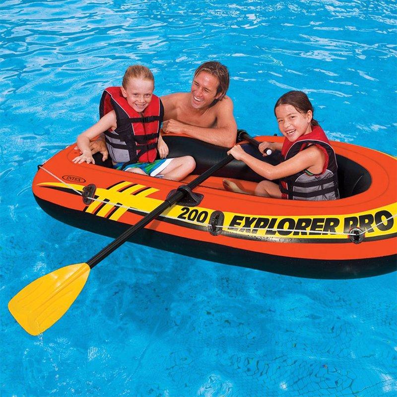 Двухместная надувная лодка Intex 58357 (196 x 102 x 33 см) Explorer Pro 200 Set + Пластиковые весла и ручной насос