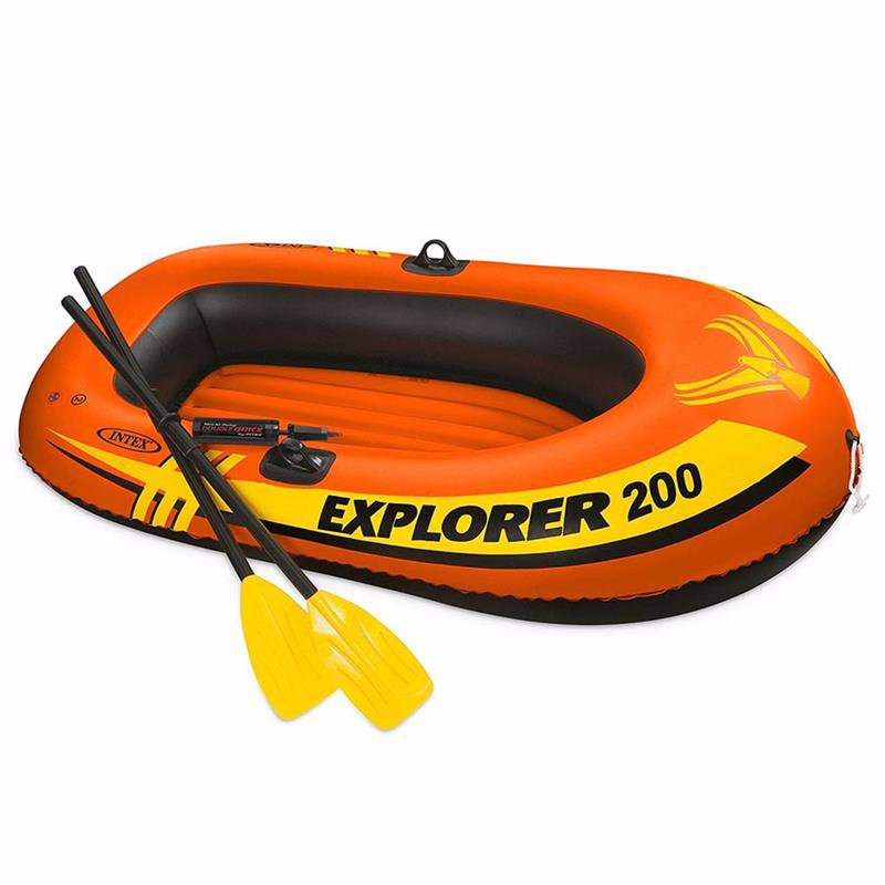 Двухместная надувная лодка Intex 58331 (185 x 94 x 41 см) Explorer 200 Set + Пластиковые весла и мини ручной насос