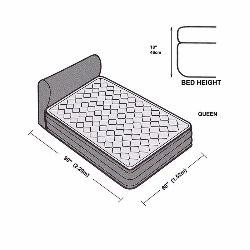 Двуспальная надувная кровать Intex 64460 (152 х 229 x 79 см) Ultra Plush Headboard + Встроенный электронасос 220В