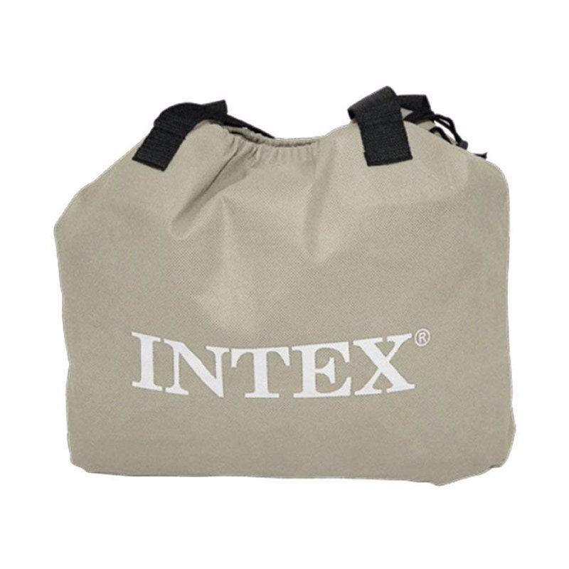 Двуспальная надувная кровать Intex 64424 (152х 203 x 42 см) Pillow Rest Raised + Встроенный электронасос 220В