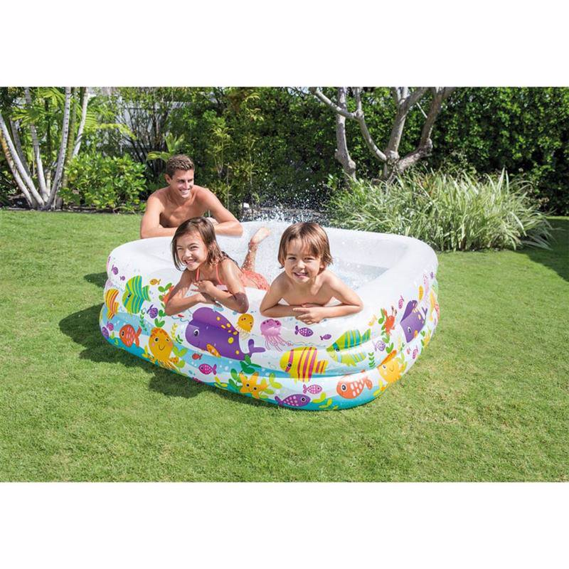 Семейный надувной бассейн Intex 57471 Swim Center Clearview Aquarium Pool (159х159х50 см)